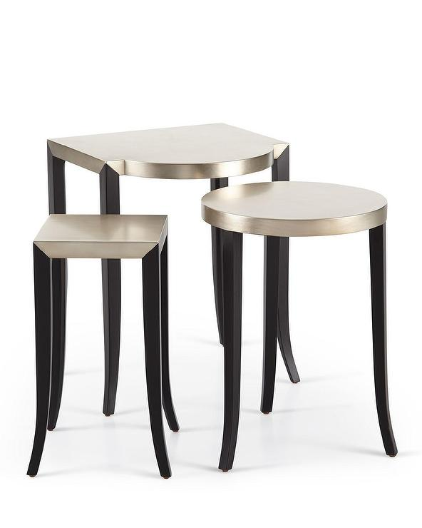 Charla SIlver Black 3 Piece Nesting Tables