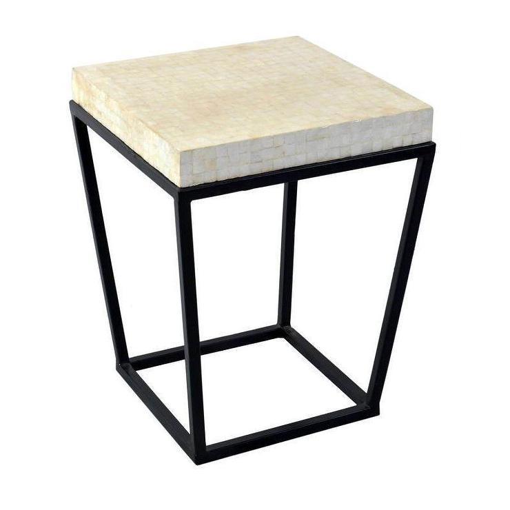 Round White Capiz Coffee Table: Carmelita Black White Cylinder Side Table