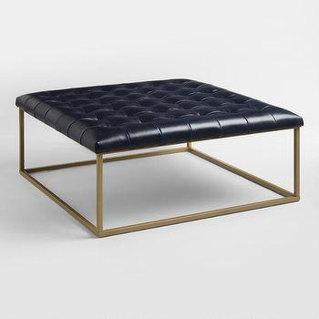 Button Tufted Navy Blue Velvet Cube Ottoman