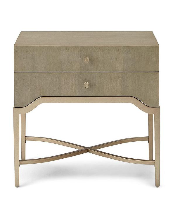 sabeen beige metal two drawer nightstand Metal Nightstand