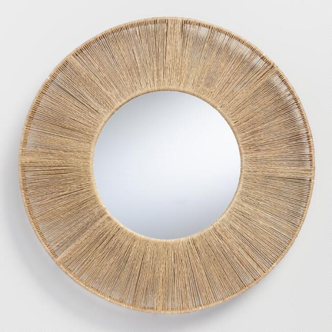 Round Wrapped Jute Frame Mirror