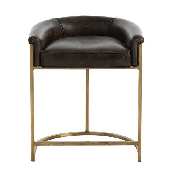 Calvin Brown Leather Curved Brass Bar Stool