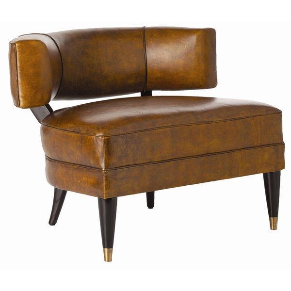 Lau Glazed Top Brown Leather Barrel Chair