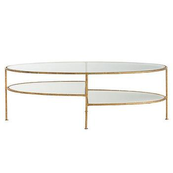 emilia oval tiered glass brass coffee table