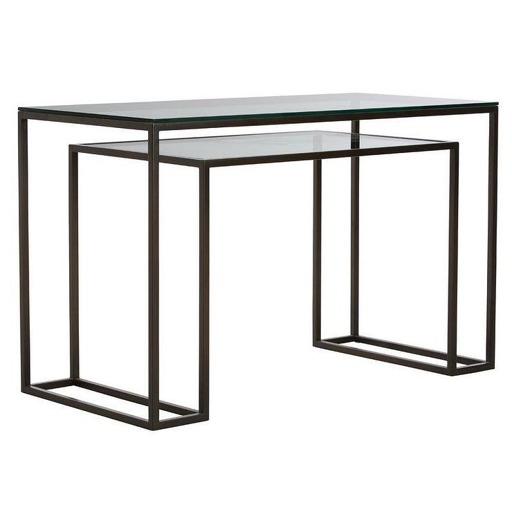 best website 753f5 6eba0 Twain Rectangular Black Metal Glass Desk
