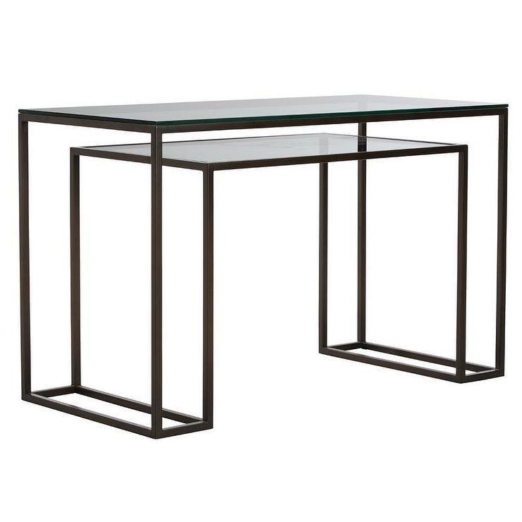 twain rectangular black metal glass desk rh decorpad com metal and glass desk walmart metal and glass office desk