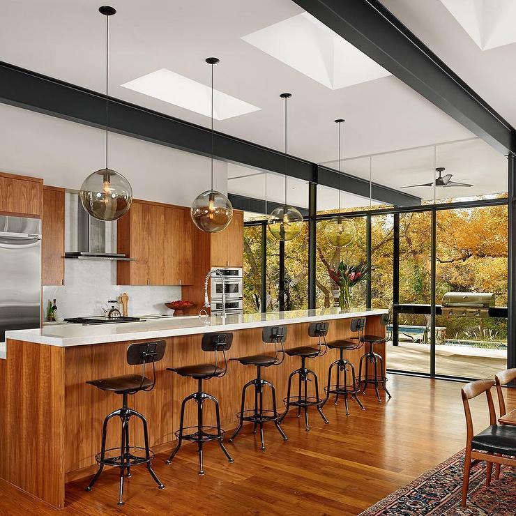 Modern Long Island Mahogany Wood Kitchen