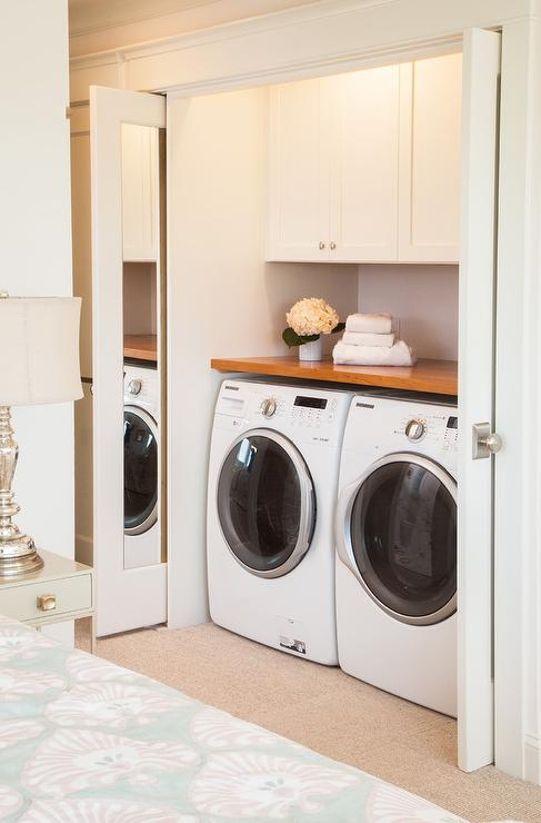 Awesome Bedroom Washer And Dryer In Closet With Pocket Doors