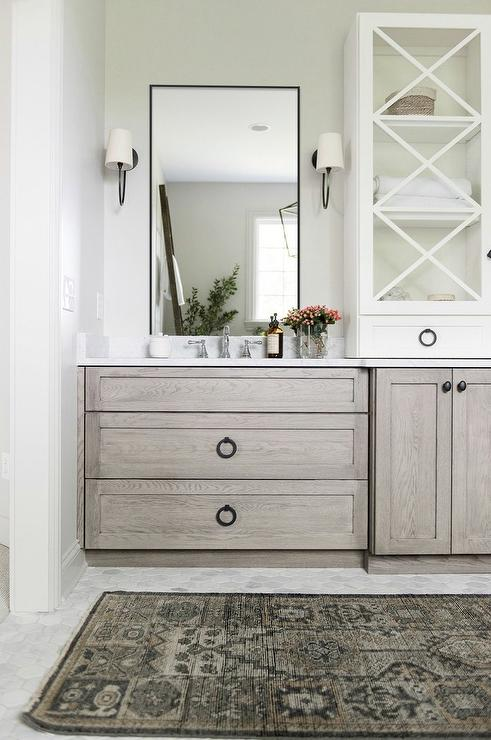 Gray Oak Vanity Drawers With Large Ring Pulls Transitional Bathroom