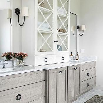 Gray Oak Bath Vanity Cabinets And Drawers