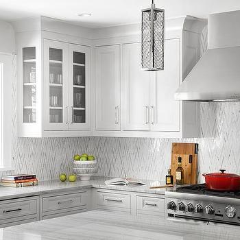 White And Silver Chevron Backsplash Tiles