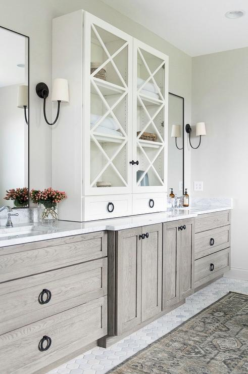 Gray Oak Bath Vanity Cabinets And Drawers Transitional