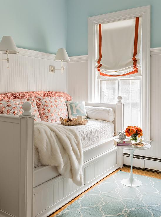 White Shiplap Daybed With Blue Moroccan Trellis Mirror