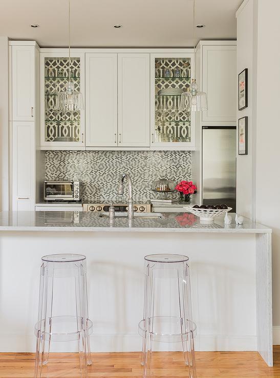 White And Silver Trellis Kitchen Wall Tiles Design Ideas