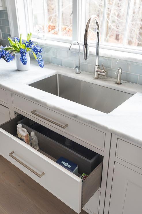Sponge drawer under kitchen sink transitional kitchen benjamin sponge drawer under kitchen sink workwithnaturefo