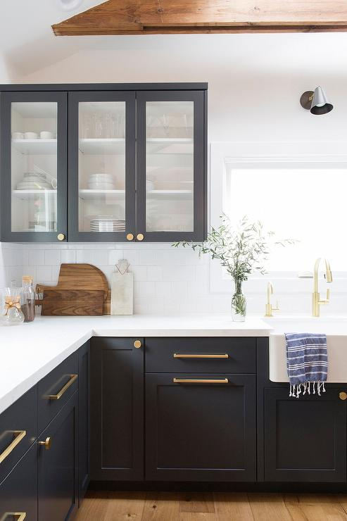 Black Shaker Cabinets With Brushed Gold Pulls And Knobs