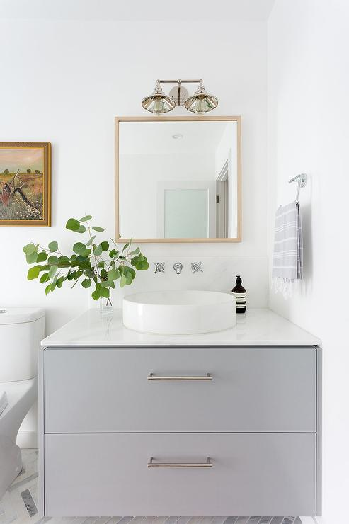 Round Vessel Sink With Gray Dresser Like Sink Vanity
