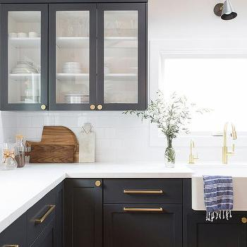 White Shaker Kitchen Cabinets Brushed, Brass Kitchen Cabinet Pulls