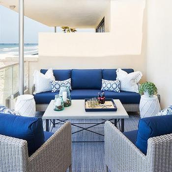 Beach Style Patio With Blue And Gray Outdoor Sofa And Chairs