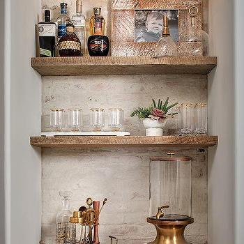 Rustic White Brick Bar Backsplash