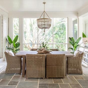 Beautiful Sunken Sunroom Dining Space With Slate Floor Tiles