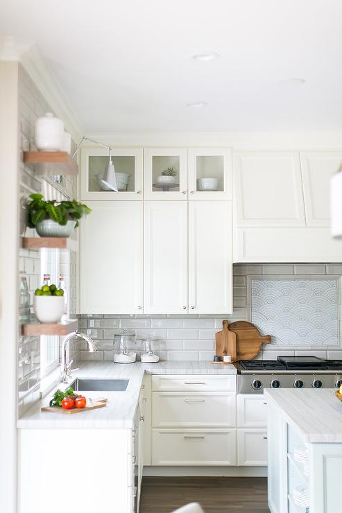 Long Gray Backsplash Tiles With Off White Shaker Cabinets