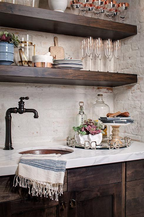 Espresso Kitchen Cabinets White Counter