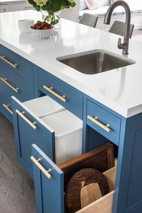 Pull Out Garbage Bin Under Island Prep Sink - Transitional ...