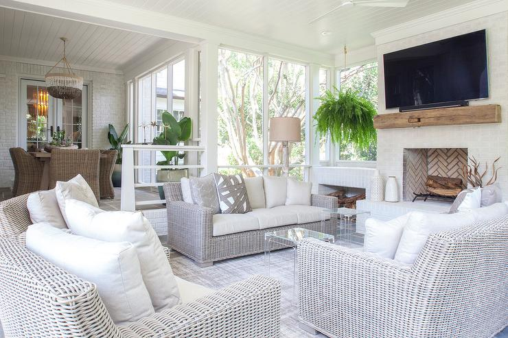 Sunken Sunroom Living Space With Wicker Sofas