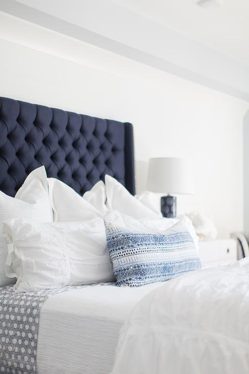 Top White and Blue Bedding on Blue Headboard - Cottage - Bedroom AH69