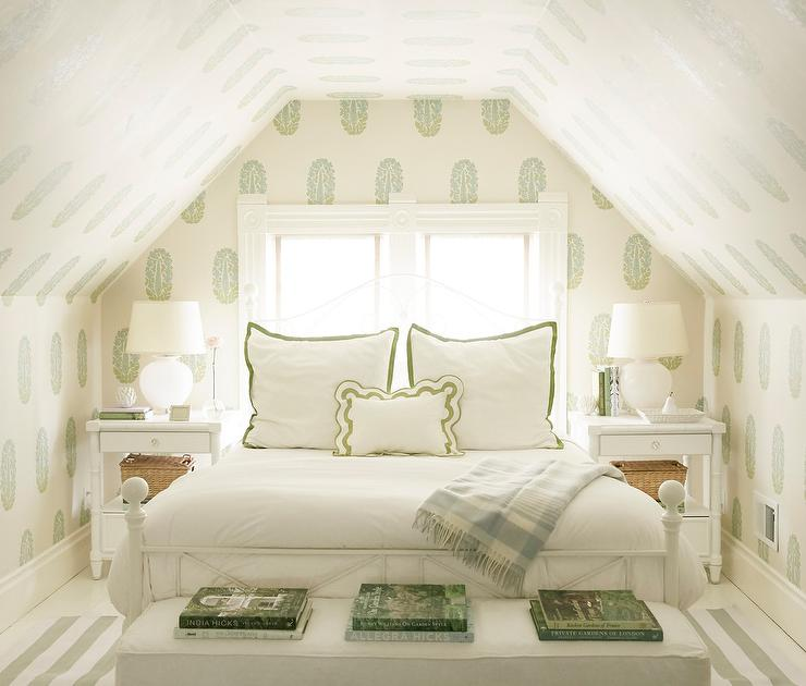 White And Green Attic Bedroom With Green Block Print Wallpaper