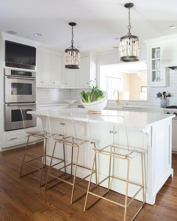 Shells Pendant Lights Over Island - Transitional - Kitchen
