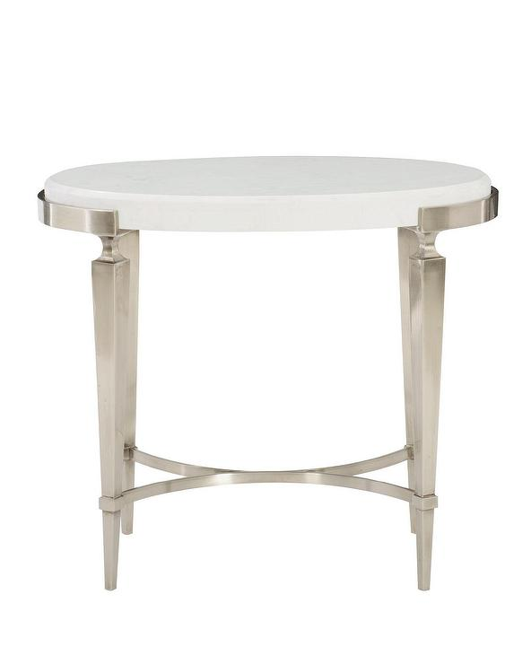 oval side table. Damonica Quartz Oak Oval Silver Side Table D