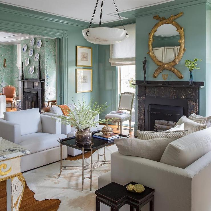 Gold Accents Living Room.Classic Green White Gold Accent Living Room