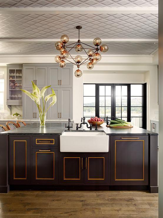 Gold Trim on Black Kitchen Island - Transitional - Kitchen