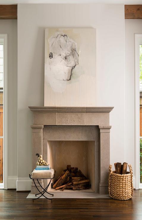 Gray Limestone Fireplace Mantel With Gold Herringbone Firebox Tiles