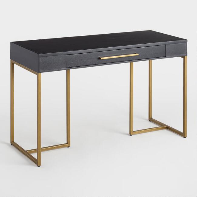 Black Oval Top Brass Base Coco Desk Oval