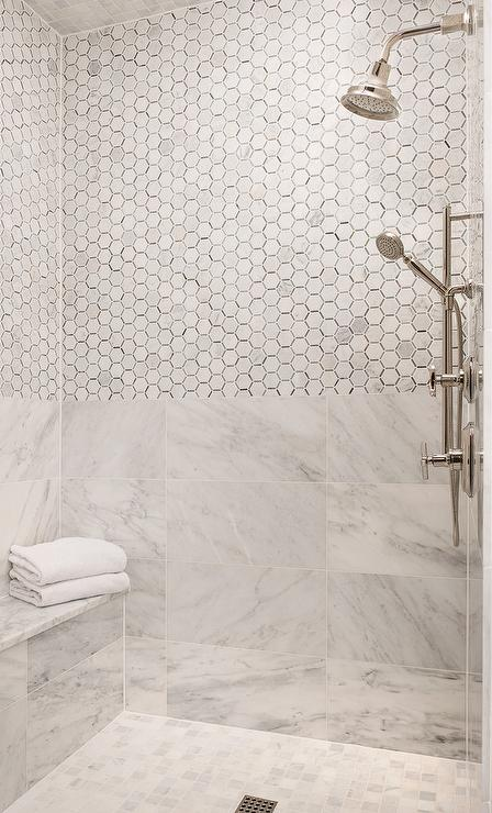 Marble Hex Tiles On Top Half Of Shower Walls