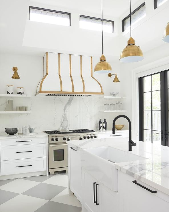 White Kitchen Vent Hood: Rejuvenation Mission Pulls In Unlacquered Brass