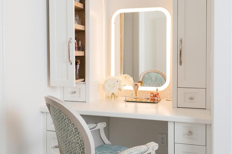 Pull Out Makeup Vanity Cabinets Design