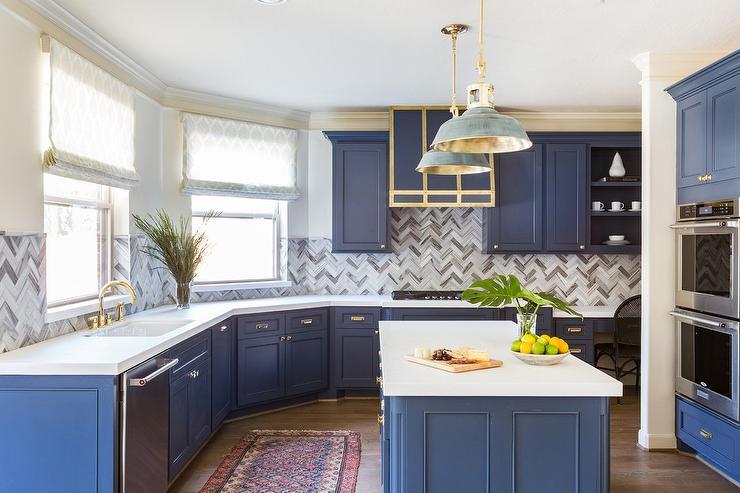 Gold And Gray Vintage Barn Light Pendants Transitional Kitchen
