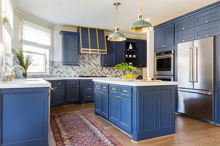 White and gold kitchen with black accents transitional Kitchen cabinet blue