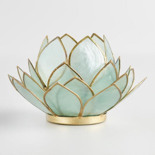 Polished gold lotus flower candle holder aqua lotus capiz tealight candleholder mightylinksfo
