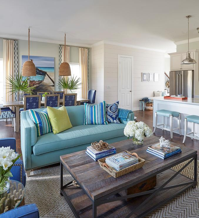 Blue Sofa with Green and Blue Pillows - Cottage - Living Room