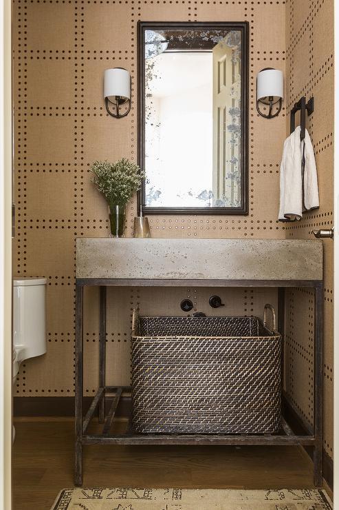 Concrete Sink Vanity With Gold Rivet Wallpaper
