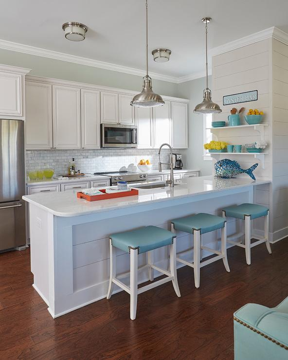 coastal themed kitchen backless sky blue counter stools at shiplap peninsula 2291