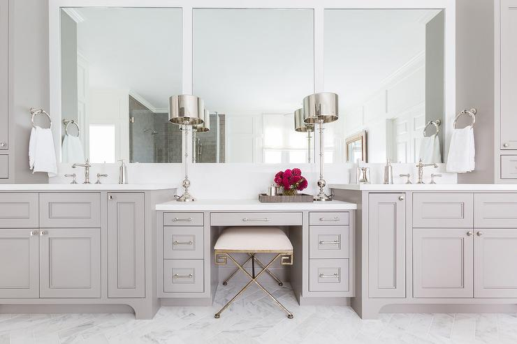 Gray Shaker Makeup Vanity With Greek Key Stool