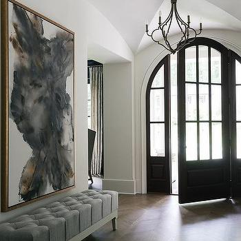 Gray Tufted Settee Transitional Entrance Foyer