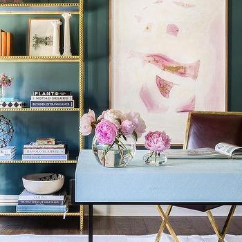 Alyssa Rosenheck: Blue Shagreen Desk With Brown Leather Chair