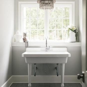 Bon Antique White 3 Tier Beaded Chandelier Over Wide Pedestal Sink